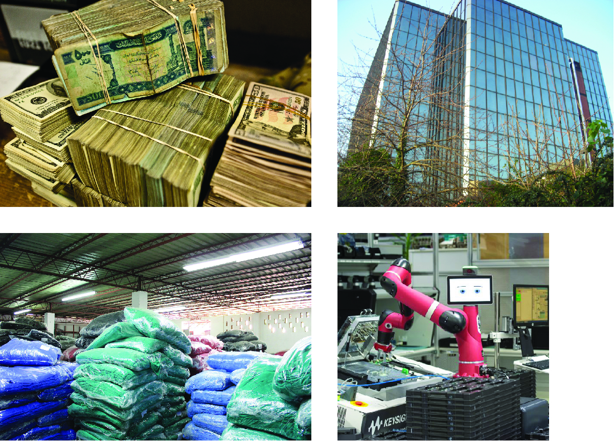 Four photographs. Top left is stacks of paper money bound in rubber bands. Top right is a tall, glass front office building. Bottom right is a robot installing parts on an assembly line. Bottom left is warehouse with several stacks of blue and green granular material in plastic sacks.