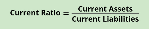 Formula: Current Ratio equals Current Assets divided by Current Liabilities.