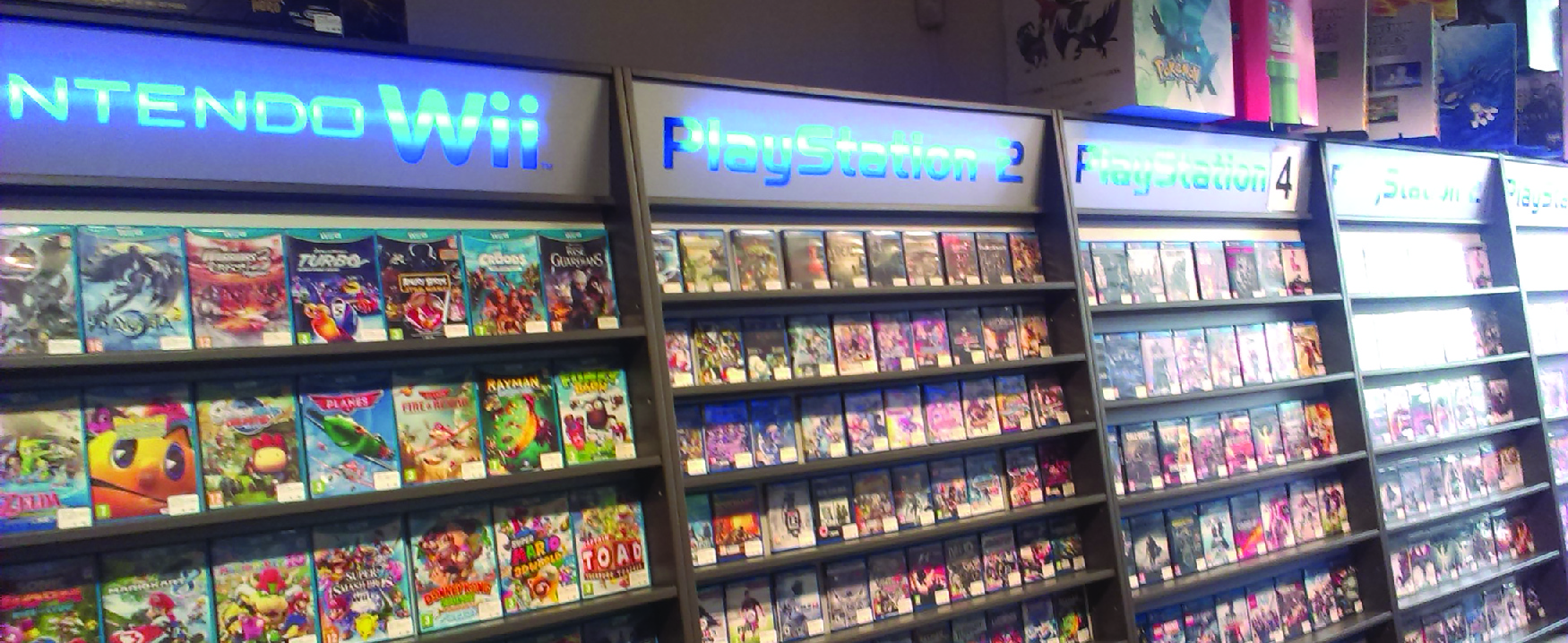 A photo of racks of electronic games.