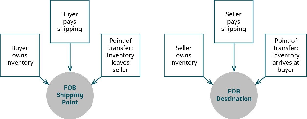 F O B Shipping Point is impacted by the facts that the buyer owns the inventory and pays for shipping, and the point of transfer at which the inventory leaves the seller. The F O B Destination is impacted by the facts that the seller owns the inventory and pays the shipping, and the point of transfer at which the inventory arrives at the buyer.