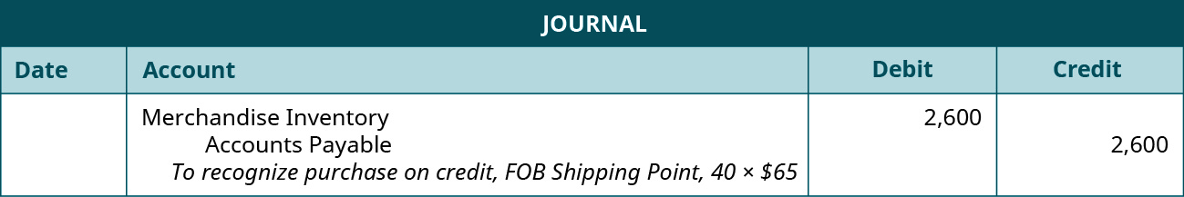 """A journal entry shows a debit to Merchandise Inventory for $2,600 and a credit to Accounts Payable for $2,600 with the note """"to recognize purchase on credit, F O B Shipping Point, 40 times $65."""""""