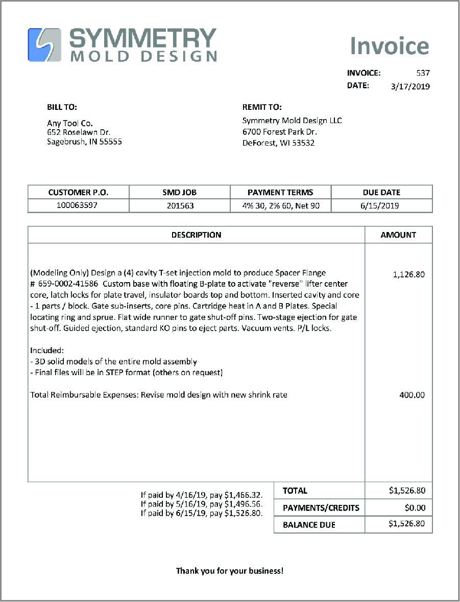 An example of an Invoice sent to a customer for items the customer purchased.