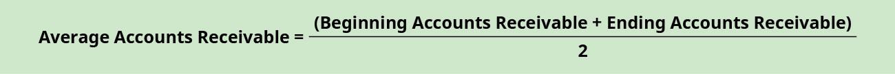 Average Accounts receivable equals (Beginning Accounts Receivable plus Ending Accounts Receivable) divided by 2.