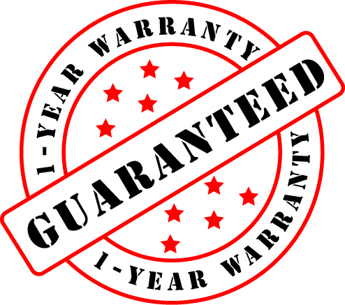 Image shows a one-year warranty guaranteed seal.