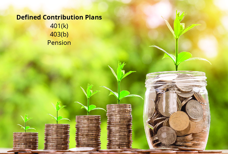 An image shows four stacks of coins and a jar of coins, each with a plant growing from them. Defined contribution plans: 401(k), 403(b), Pension.