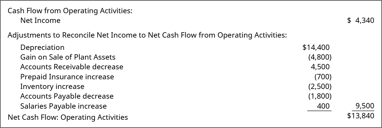 what is net cash flow from operating activities