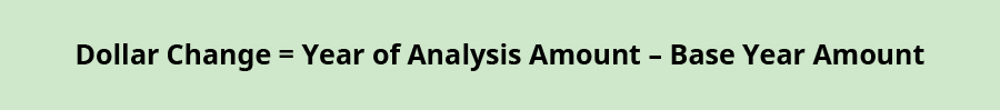 Dollar change equals Year of analysis amount minus Base year amount.