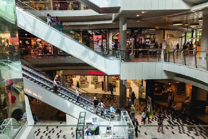 Photograph of a shopping mall.