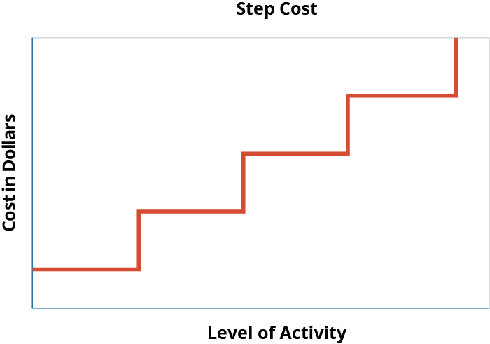Graph with Cost in Dollars as the y axis and Level of Activity as the x axis. The graph has a line that looks like a set of steps from the side, increasing from left to right.