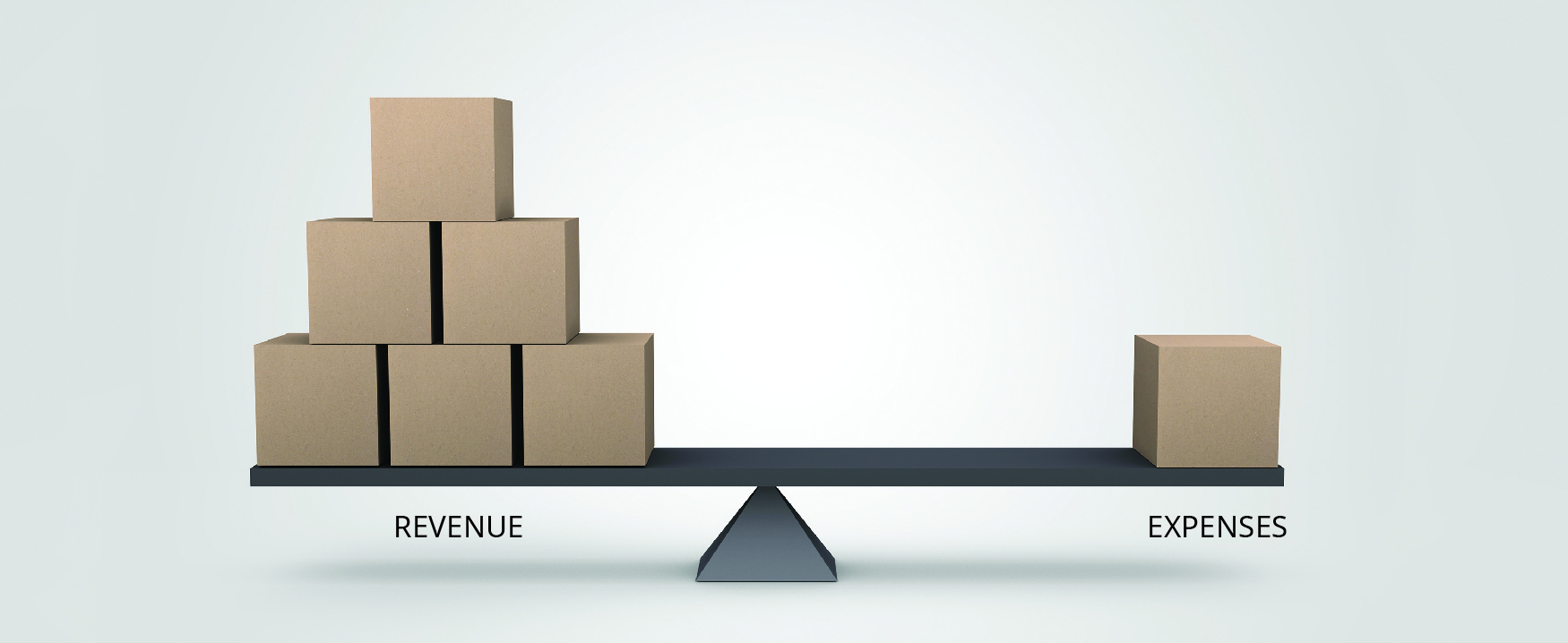 Picture of a scale with Revenue (represented by six boxes) on one side and Expenses (represented by one box) on the other.