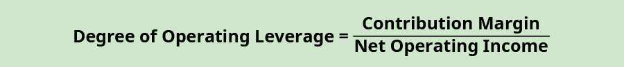 Degree of Operating Leverage equals Contribution Margin divided by Net Operating Income.