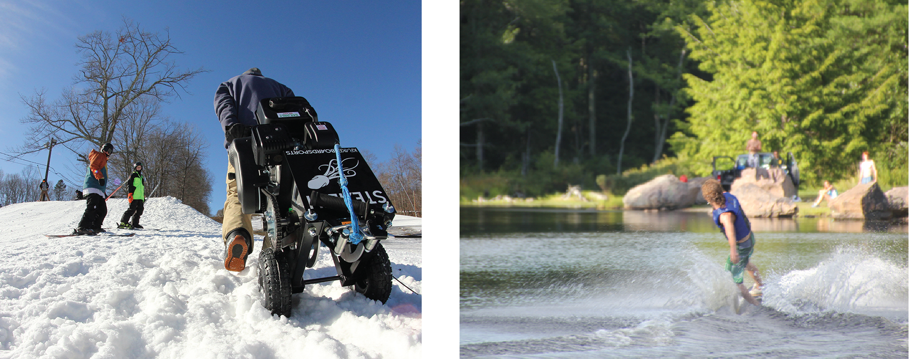 A photograph shows a person climbing a snow-covered hill carrying a winch on wheels. A photograph shows a person ski-boarding on a lake.