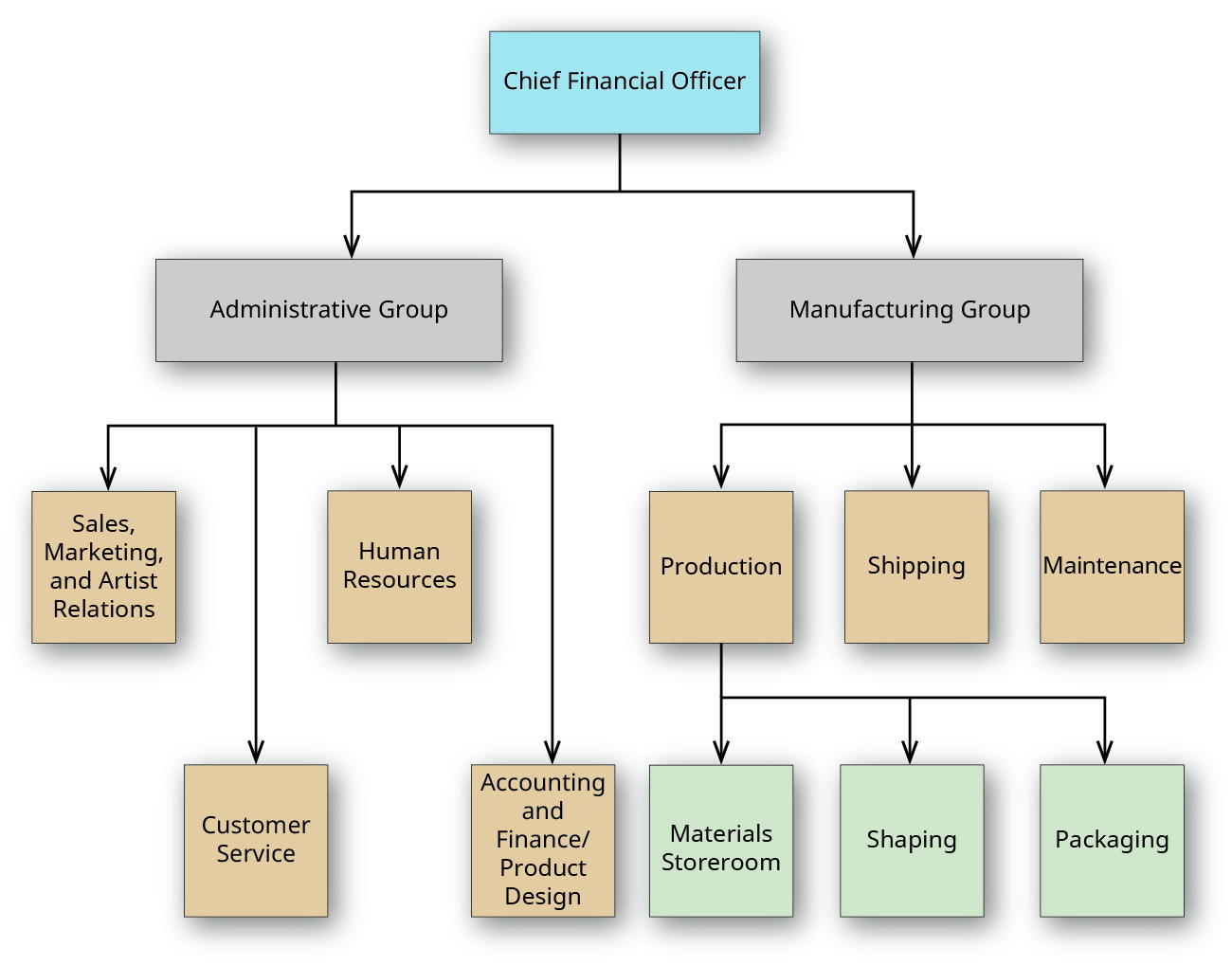 Box labeled Chief Financial Officer at the top points to two boxes just below labeled Administrative Group and Manufacturing Group. The Administrative Group box points to four boxes below that: Sales, Marketing, and Artist Relations; Customer Service; Human Resources; and Accounting and Finance/Product Design. The Manufacturing Group box points to three boxes below it: Production, Shipping, and Maintenance. The Production box points to three boxes below it: Materials Storeroom, Shaping, and Packaging.