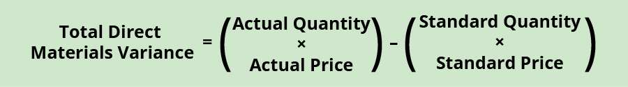 Total Direct Material Variance equals (Actual Quantity times Actual Price) minus (Standard Quantity times Standard Price).