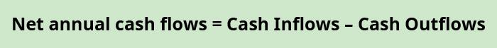 Net annual cash flows equals cash inflows minus cash outflows.