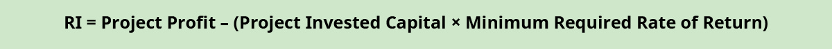 RI equals Project Profit minus (Project Invested Capital times Minimum Required Rate of Return).