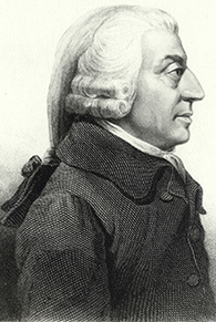 The image is a profile sketch of Adam Smith.