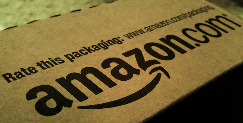 This image is a photograph of a box from Amazon.com.