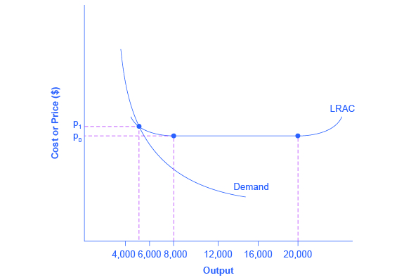 The graph represents a natural monopoly as evidenced by the demand curve intersecting with the downward-sloping part of the LRAC curve.