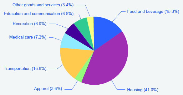 This pie chart shows the relative size of each of the eight categories used to generate the Consumer Price Index. The categories in order of highest to lowest are: housing, transportation, food and beverage, medical care, education and communication, recreation, apparel, and, finally, other goods and services.