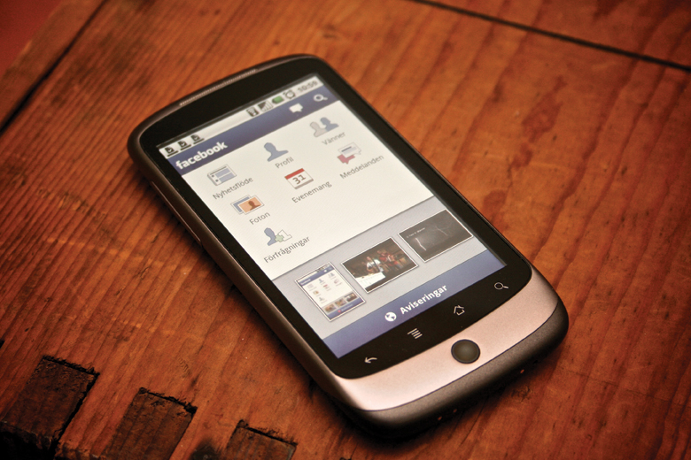 Photo of a smartphone with the Facebook application open