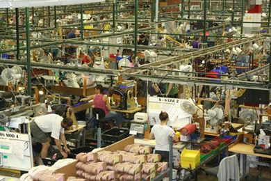 The image is a photograph of factory workers for a shoe company working separately on individualized tasks.