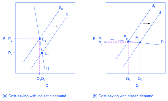 The two graphs show a highly elastic demand curve (on the left) and highly inelastic demand curve (on the right).
