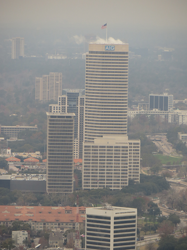 A photo shows the American General Center, a complex of several office buildings, in Houston, Texas.