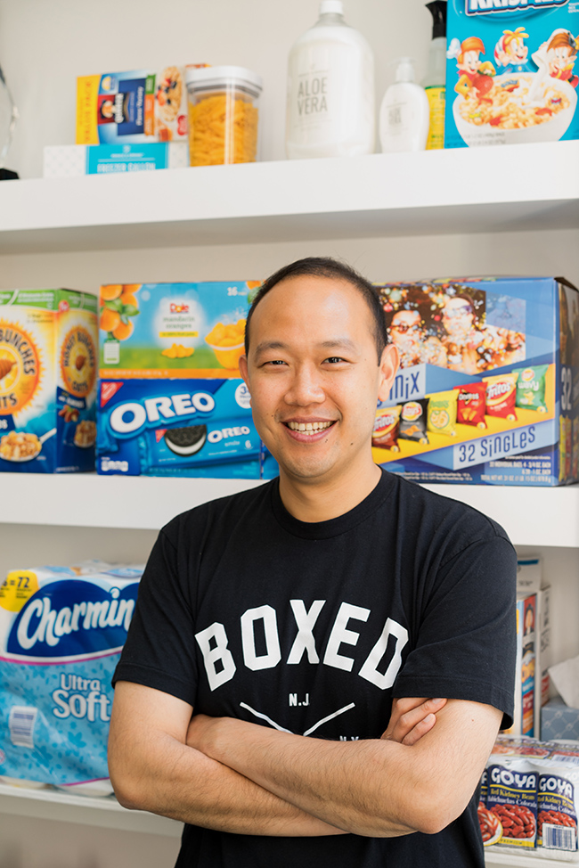 A photo shows Chieh Huang, founder and C E O of Boxed posing for the camera.