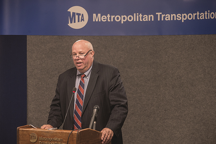 A photo shows Thomas F. Prendergast, the president of the Metropolitan Transit Authority of New York State, delivering a speech.