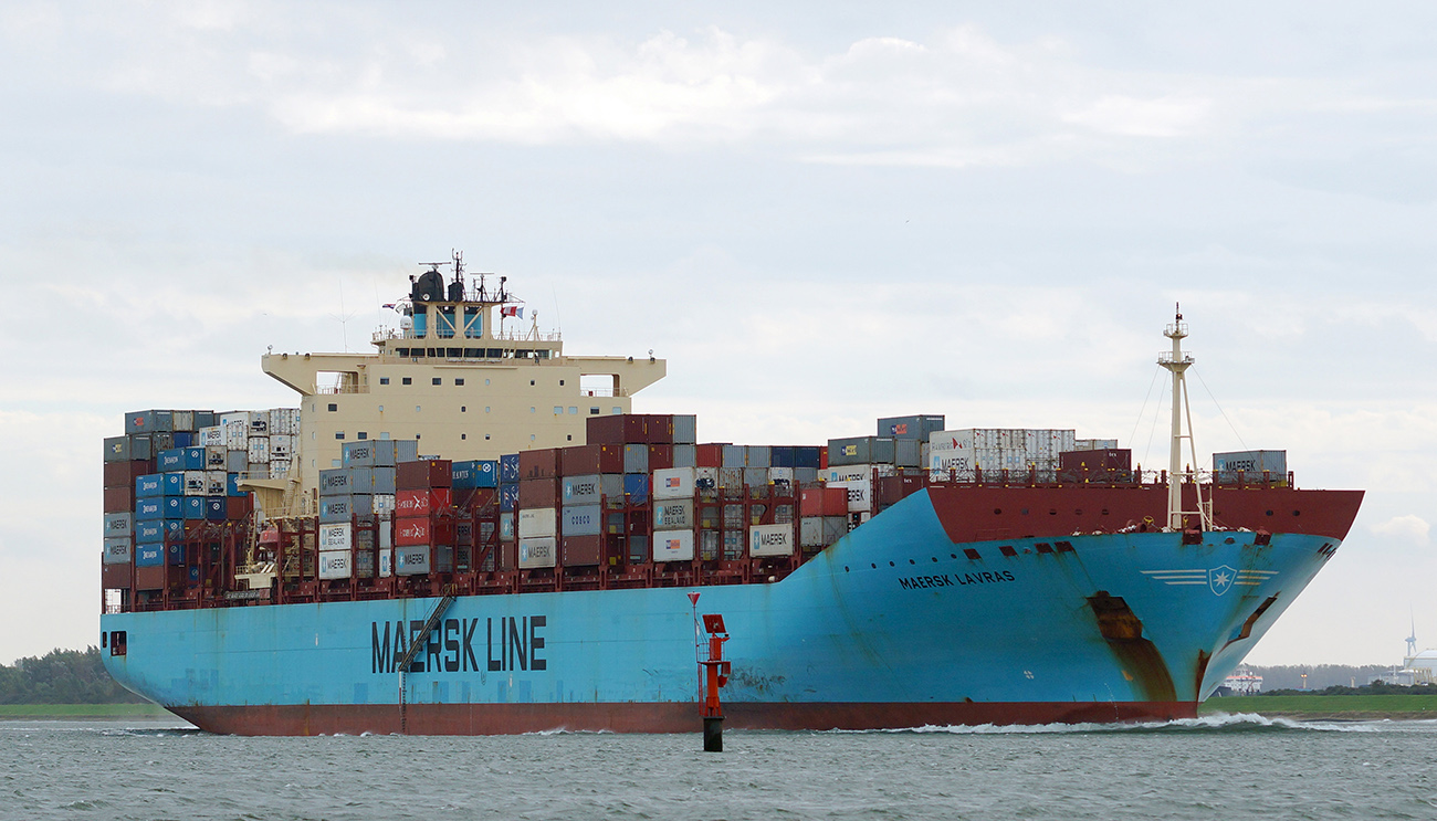 A photo shows Maersk Line's container ship on the move.