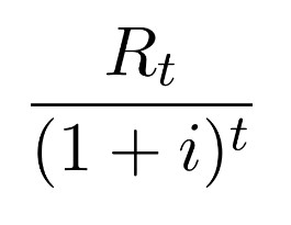 A fraction. The numerator is R to the base of t. The denominator is open parenthesis 1 plus i close parenthesis to the power of t