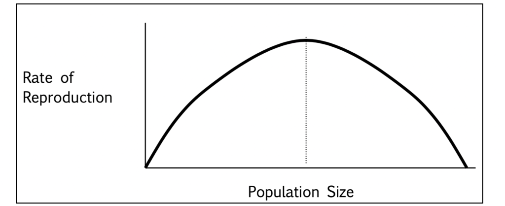 Reproduction accelerates until the population is no longer sustainable, so it starts to decrease.