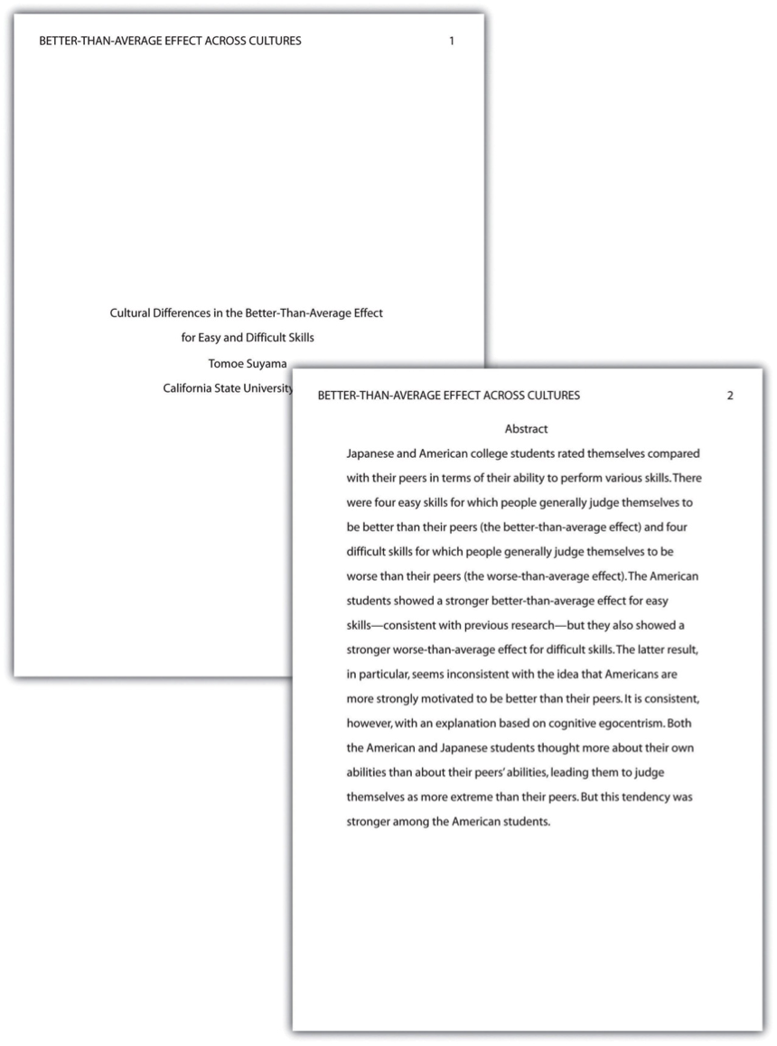 APA Format Abstract Page   MLA Format