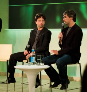 Figure 6.12 The Google corporation cofounders Larry Page and Sergey Brin are good examples of transformational leaders who have been able to see new visions and to motivate their workers to achieve them. Source: Schmidt-Brin-Page of Joi Ito, http://commons.wikimedia.org/wiki/File:Schmidt-Brin-Page-20080520.jpg used under CC BY 2.0 license (http://creativecommons.org/licenses/by/2.0/deed.en)