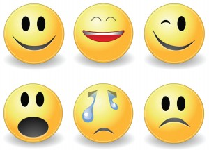 Figure 5.6 Emoticons are a type of nonverbal behavior for electronic messages. Source: Emoticons by Gustavo26776 (http://wikimediafoundation.org/wiki/File:Emoticons.gif) used under CC BY SA 3.0 (http://creativecommons.org/licenses/by-sa/3.0/deed.en)