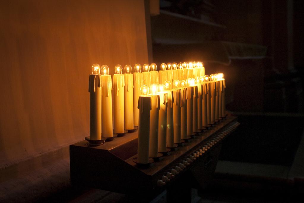 Lightbulbs that look like candles.