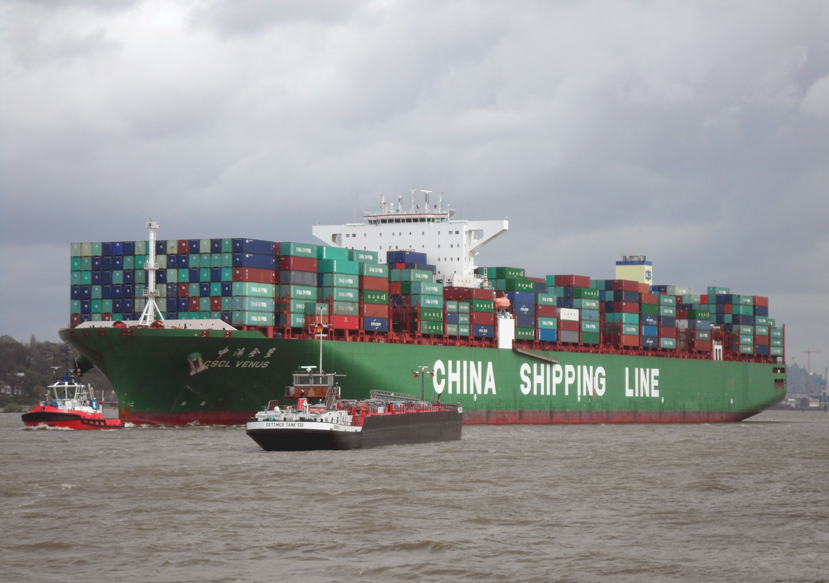 Container Ship Outgoing from Hamburg