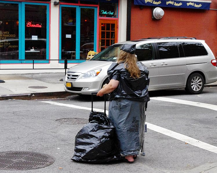 Woman Wearing Garbage Bags