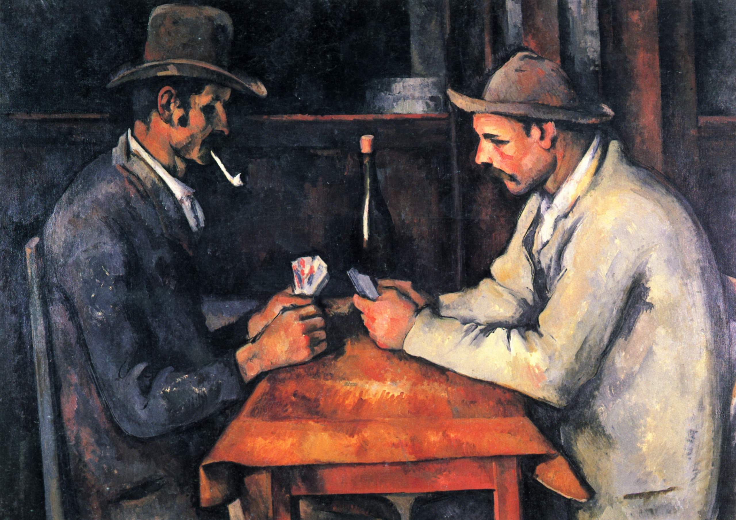 the painting - Zwei Kartenspieler(translated to the card player) by Paul Cézanne