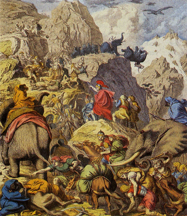 A painting of Hannibal crossing Alps with elephants