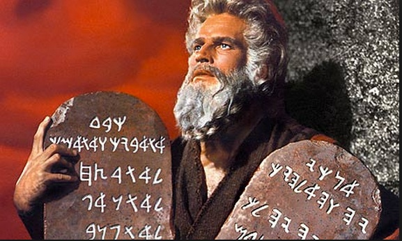 Figure 6.2. Charlton Heston as Moses. Are the tablets of stone an educational technology? (See Selwood, 2014, for a discussion of the possible language of the Ten Commandments) Image: Allstar/Cinetext/Paramount