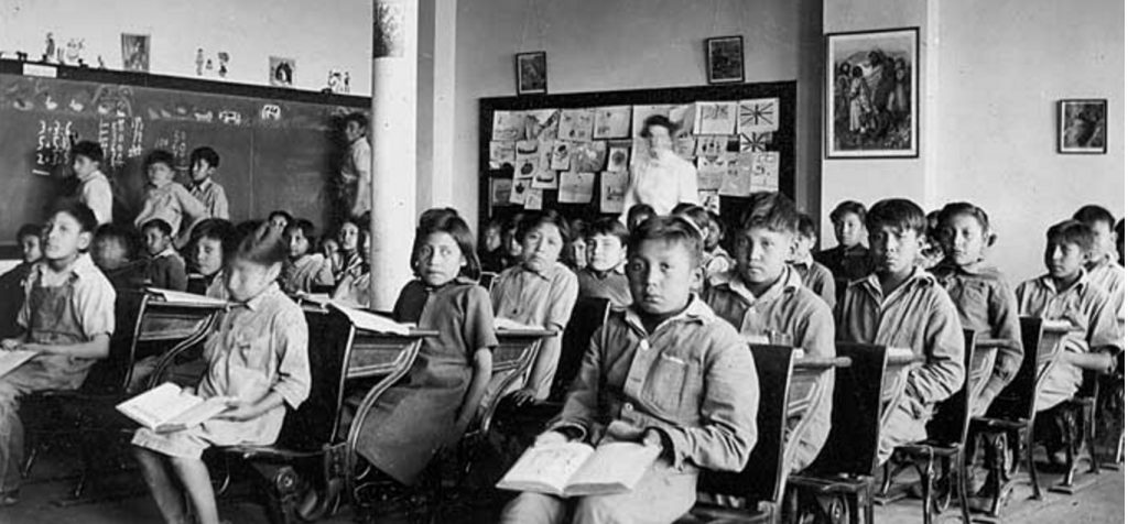 Old Sun Aboriginal School, Southern Alberta: note the Union Jack on the board at the back