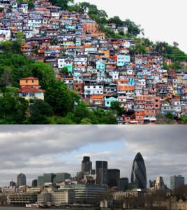 Figure 20.11 La ville taudis et la ville globale : Le Favéla Morro de Prazères en Rio de Janeiro et le district financier de Londres démontrent les deux côtés de l'urbanisation globale (photo courtoise de dany13/Flickr et Peter Pearson/Flickr)
