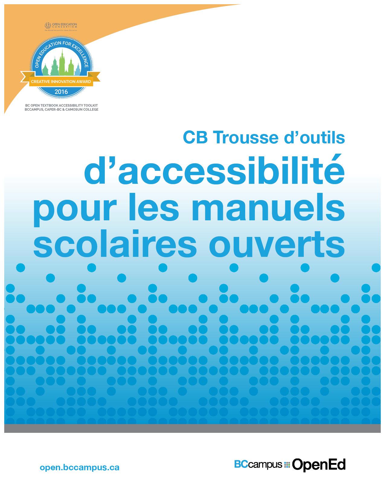 Cover image for CB Trousse d'outils d'accessibilité pour les manuels scolaires ouverts