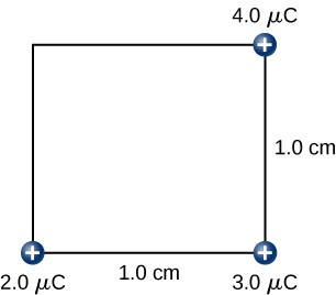 The figure shows a square with side length 1.0cm and three charges (2.0µC, 3.0µC and 4.0µC) on three corners.