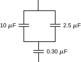 Figure shows capacitors of value 10 micro Farad and 2.5 micro Farad connected in parallel with each other. These are connected in series with a capacitor of value 0.3 micro Farad.