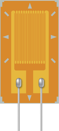 Picture is a schematic drawing of a strain gauge device that consists of the conducting pattern deposited on the insulated surface. Metal contacts are made to the two large pads at the origin of the conducting pattern.