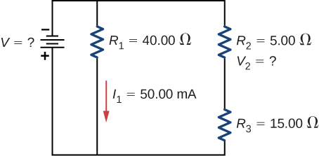 The negative terminal of voltage source V is connected to two parallel branches, one with resistor R subscript 1 of 40 Ω with downward current I subscript 1 of 50 mA and second with R subscript 2 of 5 Ω in series with R subscript 3 of 15 Ω.