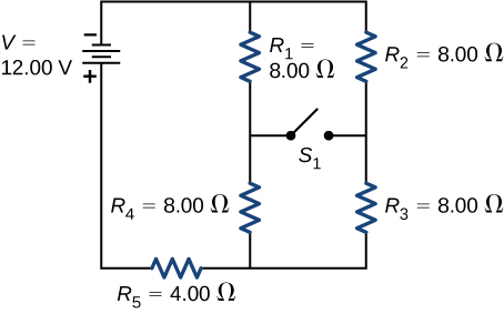 The negative terminal of voltage source of 12 V is connected to two parallel branches, one with resistor R subscript 1 of 8 Ω in series with resistor R subscript 4 of 8 Ω and second with R subscript 2 of 8 Ω in series with R subscript 3 of 8 Ω. The branches are connected together to resistor R subscript 5 of 4 Ω. An open switch S connects the two branches in the middle.
